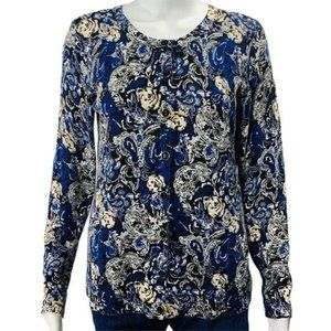 Christopher Banks Cardigan Sweater Blue Paisley
